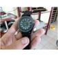 Women's Chrysanthemum Style Dial Silicone Band Quartz Analog Wrist Watch (Black)