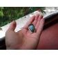 anillo de plata del arco geométrico de color turquesa de las mujeres