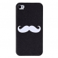 Cute Heart and Beard Pattern Style PU Leather Case for iPhone 4 and 4S (White)