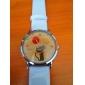 dívčí cartoon kočka vzor bílý pu kapela quartz analogové náramkové hodinky