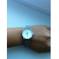 White Tone Stainless Steel Round Shape Quartz Watch For Women White+Silvery