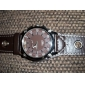 Unisex Brown Dial Wide PU Band Quartz Wrist Watch