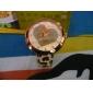 Женские аналоговые кварцевые наручные часы с бежевым ремешком из кожзама