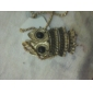 Owl Shape Antique Bronze Necklace/ Long Sweater Chain