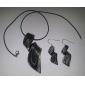 패턴 검은 색 vaidurya 목걸이와 귀걸이를 간소화