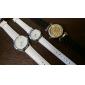 Pair of Unisex PU Analog Quartz Wrist Watch (White)