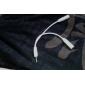 Forgyldt 3.5mm stereo lydstik Splitter Y-kabel Hvid 0,15 M