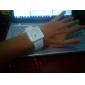 unisexe créatif cadran bande de montre à deux points de quartz de silicone de poignet analogique (blanc)