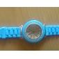 bébé bleu bande en silicone montre à quartz mouvement du poignet avec une décoration de diamants czechic