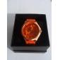 Frauen Chrysantheme Stil Zifferblatt Silikonband Quarz Analog Armbanduhr (orange)