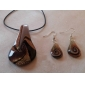 women's Streamline Golden Brown Vaidurya Necklace and Earring