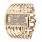 Women's Metal Band Analog Quartz Bracelet Watch With Rolling Beads Ornamentation(Golden)