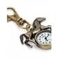 unisex de aleación de reloj de cuarzo analógico llavero con el caballo (bronce)