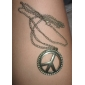 Antique Copper Peace Symbol Necklace