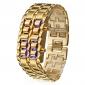 stilvolle 8-LED-Blaulicht-stellige Edelstahlband Armbanduhr - Bronze (1 * CR2016)
