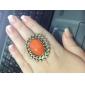 Colorido Piedra Oval Anillo de la aleación