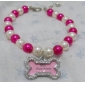 Rose Knochen Form Tags Haustier Halskette