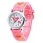 Children's Watch Heart Pattern Pink Silicone Strap