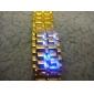 is samurai - Japansk inspirert blå LED ur - gylden
