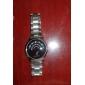 menns stål analog kvarts armbåndsur (sølv)