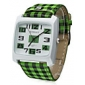 Unisex Green Lattice Style PU Band Quartz Analog Wrist Watch