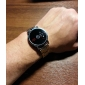 Unisex Binary Display Black Dial Silver Alloy Band Wrist Watch