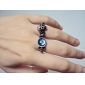 Vintage Alloy Zircon Skull Pattern Double-ring
