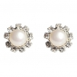 Lureme®Flower Shaped Pearl Earring with Rhinestone