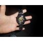 Hombre Reloj Esqueleto Cuerda Automática Huecograbado Acero Inoxidable Banda Reloj de Pulsera Negro
