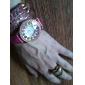 Pelle Donna banda analogico al quarzo orologio da polso con decorazioni Rhinstone colorato (rosso)