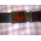 Unisex Red LED Digital Black PU Band Wrist Watch