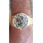 Automekanisk Skelet armbåndsur med rem i rustfrit stål og guldskive