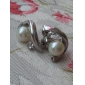 "Lureme®""C"" Pattern Pearl Earrings(Assorted Colors)"