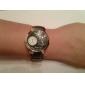 Women's PU Analog Quartz Wrist Watch (2 Time Zone, Black)