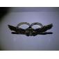Buho de la aleación del patrón anillos dobles Vintage
