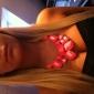 Gem Fluorecent Color Rein Necklace + Earring et