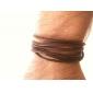 café de tres capas cuerda pulsera de cuero de los hombres