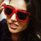 Unisex Dark Blue Lens Red Frame Square Sunglasses (Random Color)