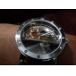 Men's Auto-Mechanical Fashion Hollow Dial Black Leather Band Analog Wrist Watch
