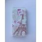 torre cercada por flores florescer padrão pu caso de corpo inteiro com slot para cartão para o iphone 5/5s