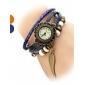 Damen Leder Analog Quarz-Armbanduhr (orange Band)