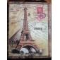 retro torre Eiffel patrón pu estuche de cuero con soporte para el ipad 2/3/4