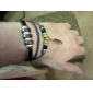 Z&X® Leather Bracelet Multilayer Vintage Fabric Bracelet with Leaf