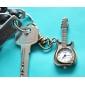 Unisex Guitar Style Alloy Analog Quarz Schlüsselbund Halskette Uhr (Bronze)