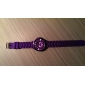 Women's Chrysanthemum Style Dial Silicone Band Quartz Analog Wrist Watch (Purple)