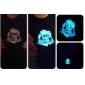 Sound and Music Activated Skull Pattern LED T-shirt (3 x AAA Batteries)