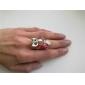 vendimia rhinestone forma búho anillo tachonado