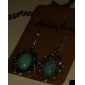 Lureme®Silver Plated Alloy Turquoise Oval Pendant Earrings