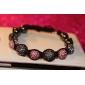 rosa y perlas de color gris cuerda pulsera tejida