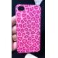 iPhone 4/4S를위한 장미 표범 인쇄 본은 투명한 구조 하드 케이스